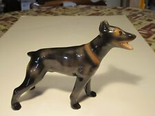 "Quality Doberman Porcelain Standing Dog Figurine With Open Mouth 6"" X 9"""