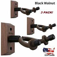 3-Pack Black Walnut Guitar Hanger Wall Mounts