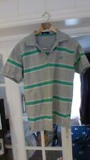 a FRED PERRY Sportswear Mens Polo Shirt Grey With Green Stripes Size M