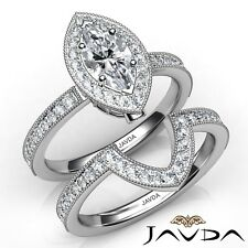 3.01ctw Milgrain Bridal Set Marquise Diamond Engagement Ring Gia I-Vs1 W Gold