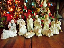 "12 Pc. Holiday Home Accents Christmas Nativity White & Gold Tallest 5""H No Base"