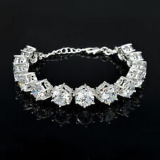 Simulated Moissanite Bracelet 12_4 Ct 10Mm Gems 18K White Gold On Silver 48 Ct