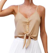 Women Button Sleeveless Chiffon Crop Top Vest Tank Summer T-Shirt Blouse Tops UK