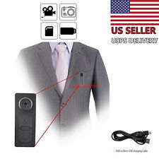Spy Hidden Camera Motion Detection Shirt Button Pinhole Nanny Babysitting Cam