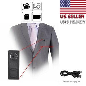 Spy Hidden Camera Motion Detection Shirt Button Pinhole Nanny Babysitting Cam