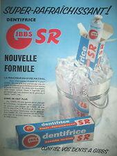 PUBLICITE DE PRESSE GIBBS DENTIFRICE SUPER RAFRAICHISSANT FRENCH AD 1955