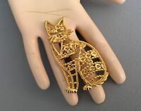 Vintage AJC SIGNED CAT Brooch, Large Pin, Cat Lovers, Gold Tone Brooch-Pin