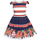 Sunny Fashion Girls Dress Stripe Flower Cap Sleeve Cotton Dress Size 2-8
