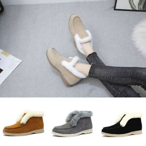 Ladies Women Flat Heel Round Toe Slip On Ankle Plush Boots Warm Casual Boots