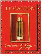 PUBLICITE ADVERTISING   1961   LE GALION  parfum EMBRUNS SORTILEGE