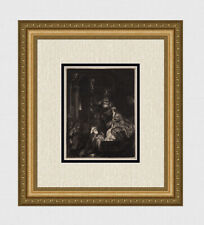 """LOOK REMBRANDT 1800s Etching B50 """"Presentation in the Temple"""" DURAND Framed COA"""