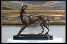 HUNTING DOG GREYHOUND BRONZE STATUE, SIGNED:Barye