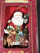 """SANTA CLAUS"" Ornament in a Designer Tin Box Grandeur Noel Christmas Holiday"