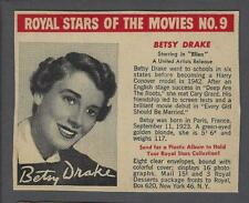 1950 Royal Stars of the Movies F291-3 Trading Card #9 Betsy Drake