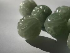 Vintage Carved Chinese Bead Gorgeous Green Jade Curling Dragon Round 17mm - 18mm
