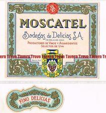Unused 1940s MEXICO Bodegas Delicias VINO MOSCATEL Wine Label Set