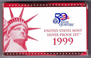 1999 US SILVER PROOF SET With ORIGINAL BOX & COA