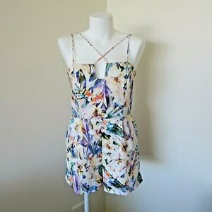 Bardot Women's Floral Playsuit Romper Size 12 Cotton Lined Flowers Strappy