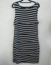 Jacqui E striped sleeveless casual dress size M stretchy layered