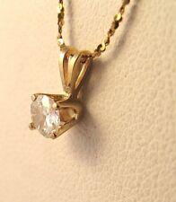 14K Yellow Gold Pendant .25CT Genuine Diamond Old Cut IJ SI1 Solitaire Vintage