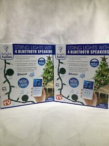 Bright Tunes 26' Cord 80 White String Lights 4 Bluetooth Speakers Lot Of 2