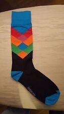 New Men Rainbow Faded Diamond Color Socks Happy Fun multiple colors See Photo