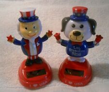 New Sealed Solar Powered Set Patriotic Uncle Sam and Dog Holiday Decorations/Toy