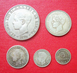 PUERTO RICO / PESO, 40, 20, 10, 5 Centavos 1895-1896 / FULL SET / Alfonso XIII