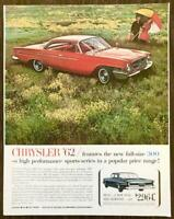 1961 PRINT AD for the 1962 Chrysler 300 Red and Newport Inset Couple Picnic