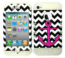 KoolKase Hybrid Silicone Cover Case for Apple iPhone 4 4S - Chevron Anchor 26