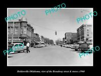 OLD LARGE HISTORIC PHOTO OF HOLDENVILLE OKLAHOMA, THE MAIN STREET & STORES c1960