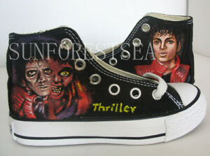 custom Michael Jackson thriller/canvas high tops sneakers/handpainted shoe
