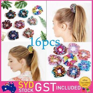 16pcs Shiny Metallic Elastic Hair Ties Women Hair Scrunchies Ponytail Holders AU