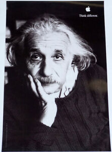 "APPLE Think different ALBERT EINSTEIN poster appr. 18""/11"" mint rolled shipping"