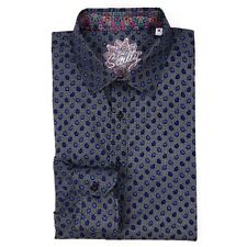 Scully Medium Shirt Blue Patterned Print Droplets Raindrops Mens Size M Cotton