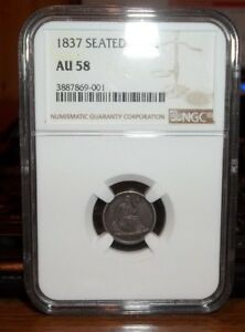 1837 No Stars Liberty Seated Half Dime Silver H10C AU 58 NGC