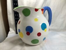 New listing Colored Purple Blue Green Polka Dot Ceramic Water Pitcher