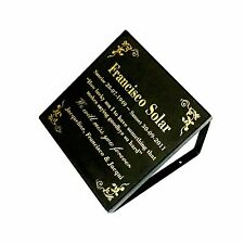 Memorial Grave Marker Plaque and Stand  Engraved Black Granite 300 x 300mm