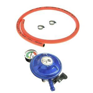 CLIP ON BUTANE GAS BOTTLE REGULATOR 21mm WITH 1m ORANGE HOSE AND CLIPS 28mbar