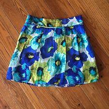 Ann Taylor LOFT Size 6 Small Blue Green Yellow Floral Linen Skirt Lined   -B