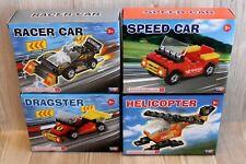 4 Mini jeux de construction type LEGO pour garçons voitures, hélicoptère - NEUF