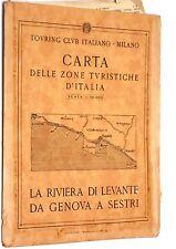 Carta stradale Touring Club Italiano Riviera di Levante da Genova a Sestri 1950