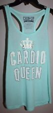 CHIN UP APPAREL M Mint Blue/White Cardio Queen Workout Sport Tank Top Slub Knit