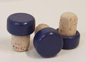 25 Griffkorken, Griff  aus Holz Blau - Stopfen Durchmesser 19 mm, Korken