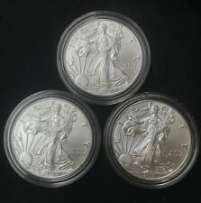 Lot of 3 - 2018 $1 1oz Silver American Eagle 0.999  BU With Mint Clear Capsule