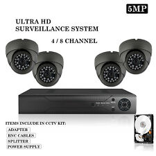 5MP 2K UHD DVR 4 8 Channel CCTV System HD Outdoor Grey Camera Home Security Kit