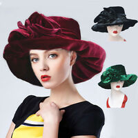 Womens Wide Brim Kentucky Derby Church Dress Wedding Velvet Floral Hat A389