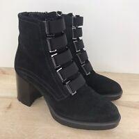 Aquatalia Sz 6 Indira Leather Block Heel Booties Ankle Boots Size Zip