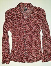 Petite Sophisticate Women Button Down Blouse Red Black Geometric Pattern Sz 10P