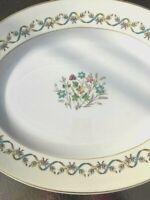 "Sandringham Wedgwood Oval Serving Platter 17"" Ribbon and Floral Blue Bone China"